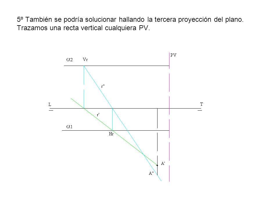 5º También se podría solucionar hallando la tercera proyección del plano. Trazamos una recta vertical cualquiera PV.