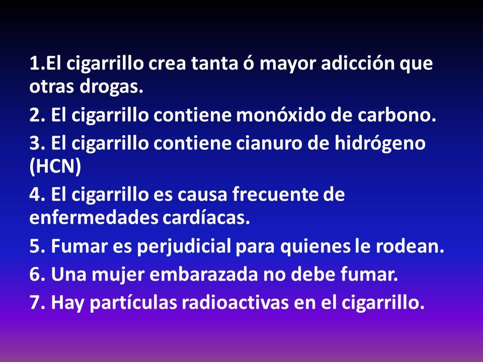 1.El cigarrillo crea tanta ó mayor adicción que otras drogas.