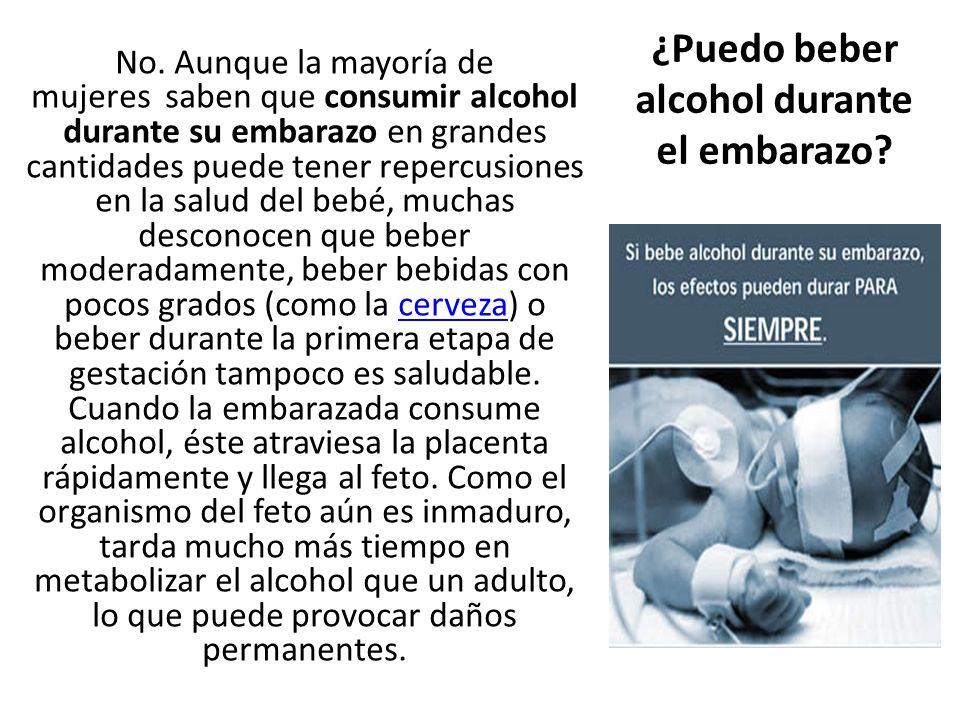 No. Aunque la mayoría de mujeres saben que consumir alcohol durante su embarazo en grandes cantidades puede tener repercusiones en la salud del bebé,