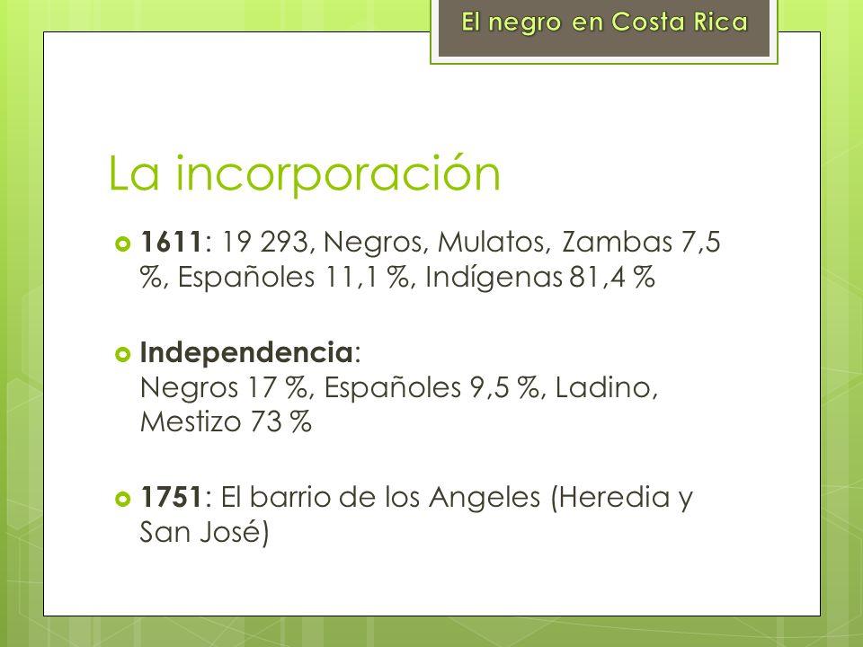 La incorporación 1611 : 19 293, Negros, Mulatos, Zambas 7,5 %, Españoles 11,1 %, Indígenas 81,4 % Independencia : Negros 17 %, Españoles 9,5 %, Ladino