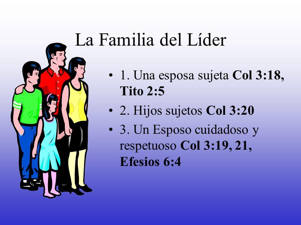 La Familia del Líder 1. Una esposa sujeta Col 3:18, Tito 2:5 2. Hijos sujetos Col 3:20 3. Un Esposo cuidadoso y respetuoso Col 3:19, 21, Efesios 6:4