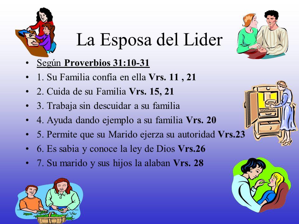 La Esposa del Lider Según Proverbios 31:10-31 1. Su Familia confía en ella Vrs. 11, 21 2. Cuida de su Familia Vrs. 15, 21 3. Trabaja sin descuidar a s