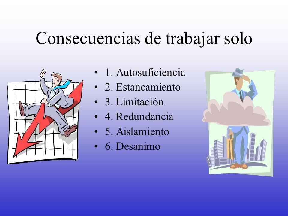 Consecuencias de trabajar solo 1. Autosuficiencia 2. Estancamiento 3. Limitación 4. Redundancia 5. Aislamiento 6. Desanimo