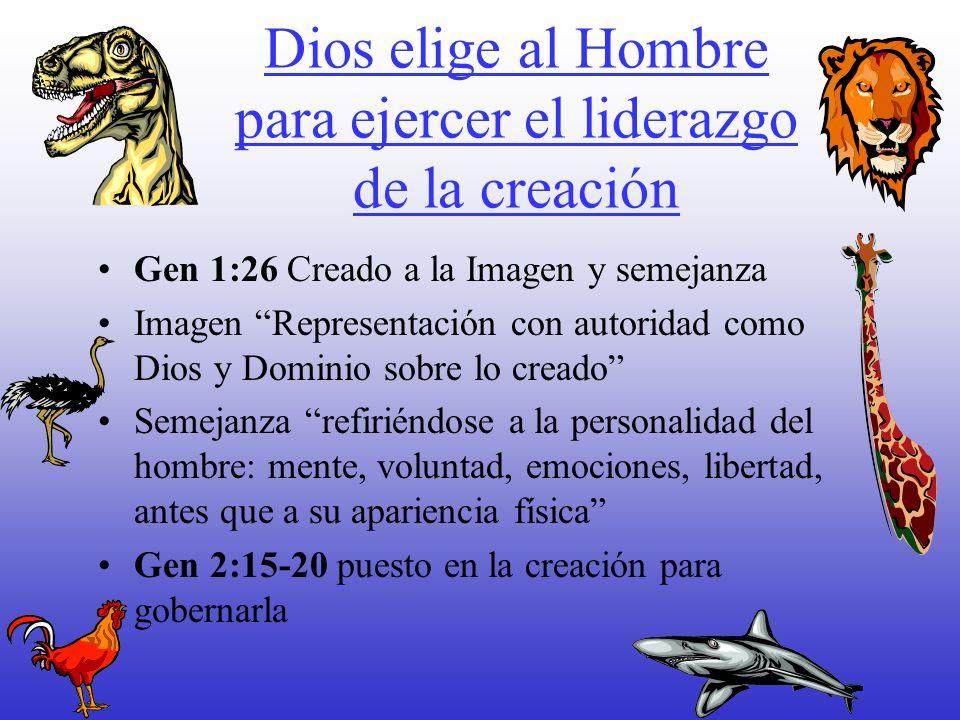 Dios elige al Hombre para ejercer el liderazgo de la creación Gen 1:26 Creado a la Imagen y semejanza Imagen Representación con autoridad como Dios y