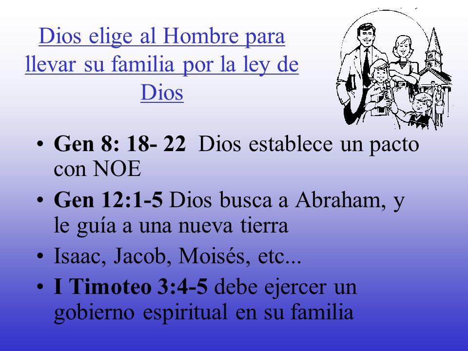Dios elige al Hombre para llevar su familia por la ley de Dios Gen 8: 18- 22 Dios establece un pacto con NOE Gen 12:1-5 Dios busca a Abraham, y le guí