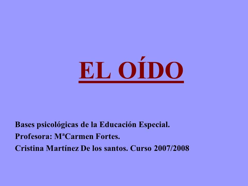EL OÍDO Bases psicológicas de la Educación Especial. Profesora: MªCarmen Fortes. Cristina Martínez De los santos. Curso 2007/2008