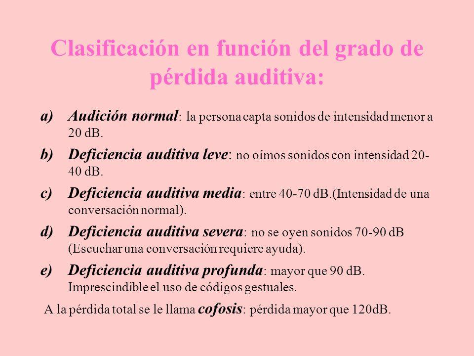 Clasificación en función del grado de pérdida auditiva: a)Audición normal : la persona capta sonidos de intensidad menor a 20 dB. b)Deficiencia auditi