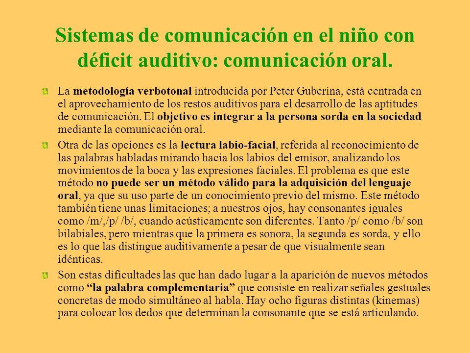 Sistemas de comunicación en el niño con déficit auditivo: comunicación oral. La metodología verbotonal introducida por Peter Guberina, está centrada e