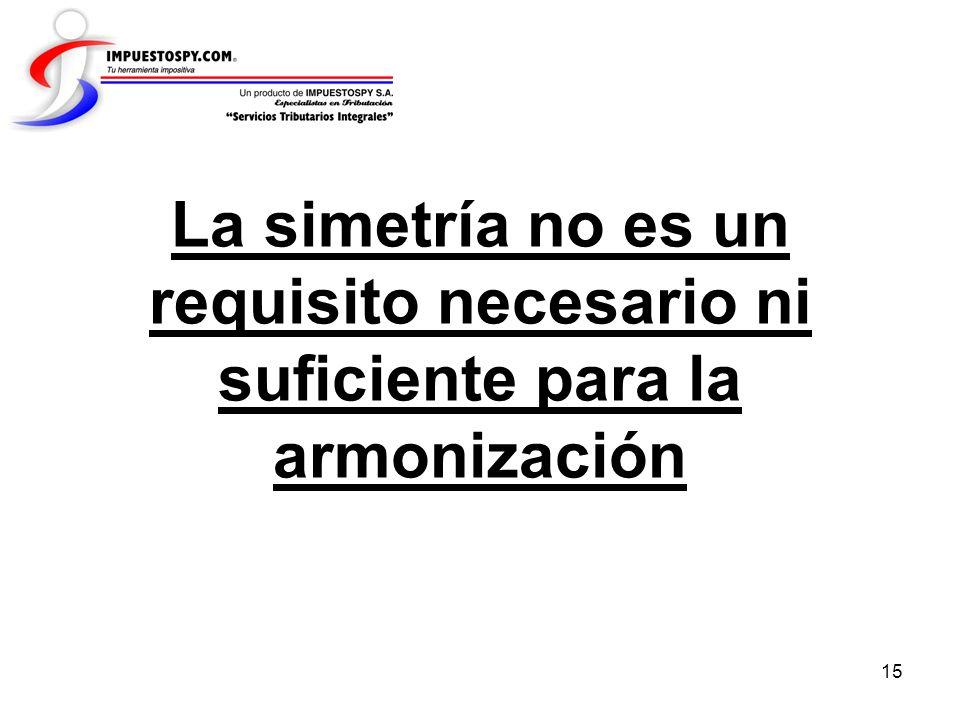 15 La simetría no es un requisito necesario ni suficiente para la armonización