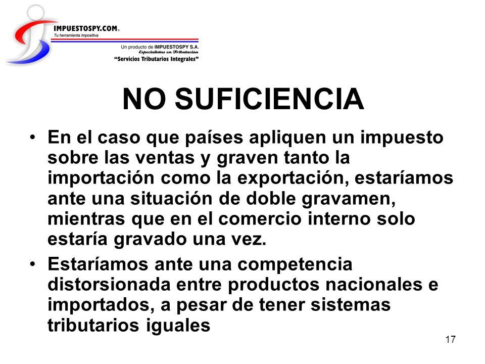 17 NO SUFICIENCIA En el caso que países apliquen un impuesto sobre las ventas y graven tanto la importación como la exportación, estaríamos ante una s