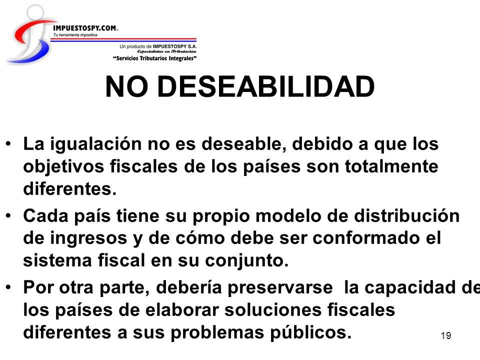 19 NO DESEABILIDAD La igualación no es deseable, debido a que los objetivos fiscales de los países son totalmente diferentes. Cada país tiene su propi