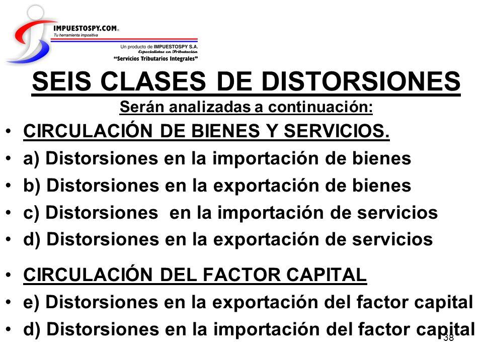 38 SEIS CLASES DE DISTORSIONES Serán analizadas a continuación: CIRCULACIÓN DE BIENES Y SERVICIOS. a) Distorsiones en la importación de bienes b) Dist