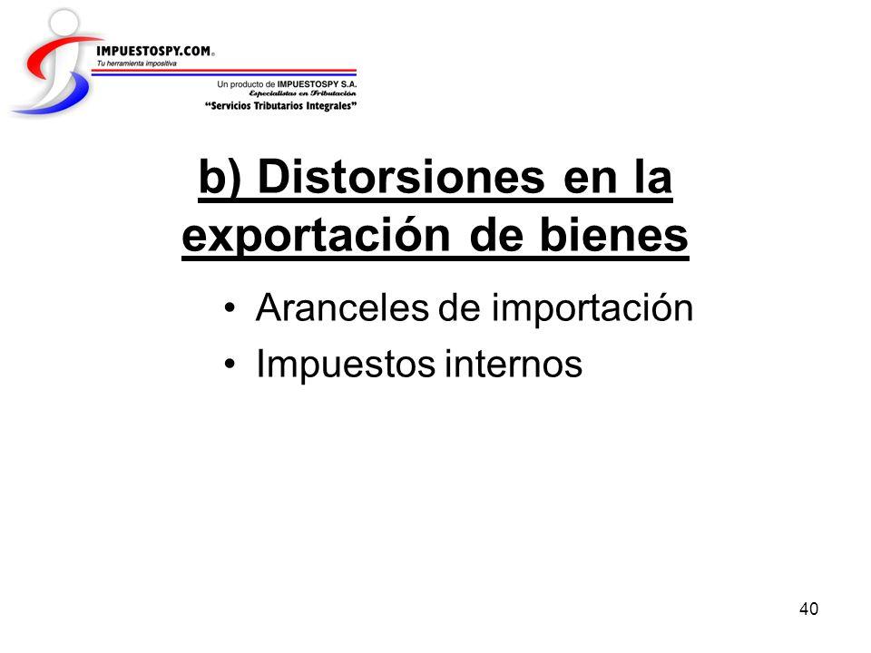 40 b) Distorsiones en la exportación de bienes Aranceles de importación Impuestos internos