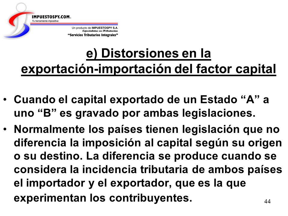 44 e) Distorsiones en la exportación-importación del factor capital Cuando el capital exportado de un Estado A a uno B es gravado por ambas legislacio