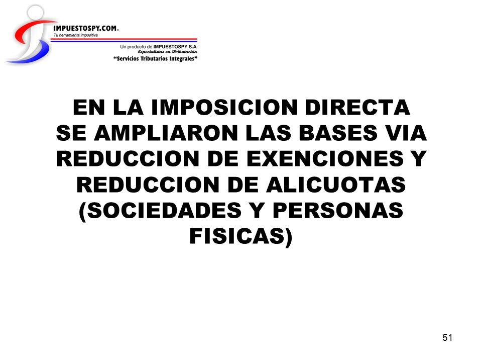 51 EN LA IMPOSICION DIRECTA SE AMPLIARON LAS BASES VIA REDUCCION DE EXENCIONES Y REDUCCION DE ALICUOTAS (SOCIEDADES Y PERSONAS FISICAS)