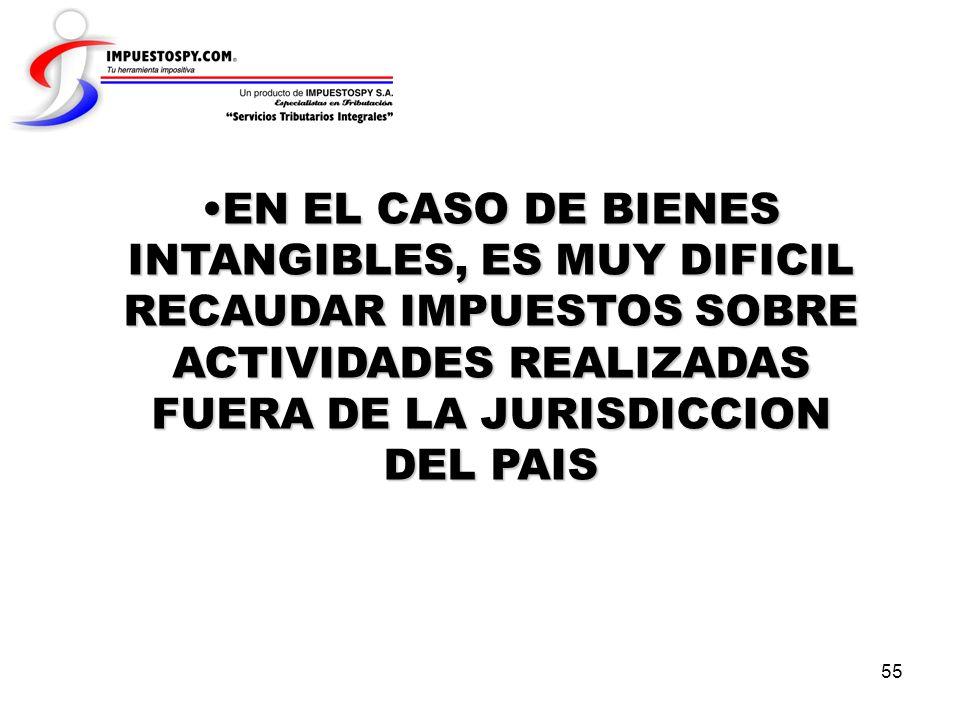 55 EN EL CASO DE BIENES INTANGIBLES, ES MUY DIFICIL RECAUDAR IMPUESTOS SOBRE ACTIVIDADES REALIZADAS FUERA DE LA JURISDICCION DEL PAISEN EL CASO DE BIE