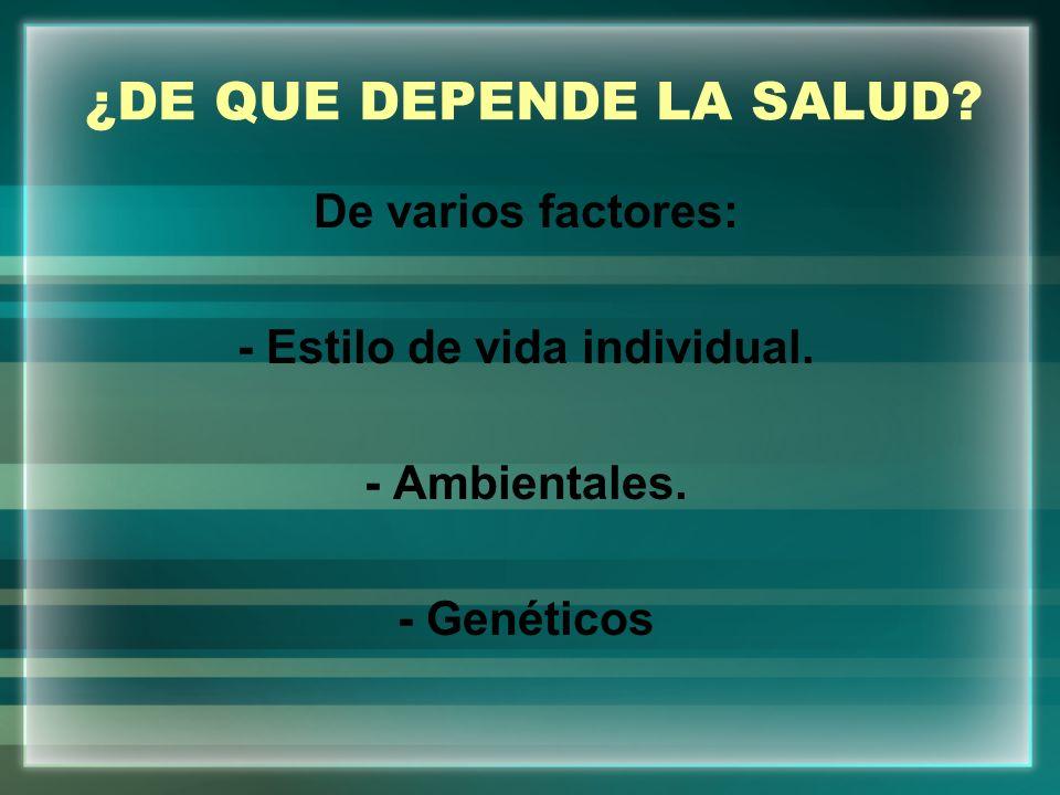 ¿DE QUE DEPENDE LA SALUD? De varios factores: - Estilo de vida individual. - Ambientales. - Genéticos