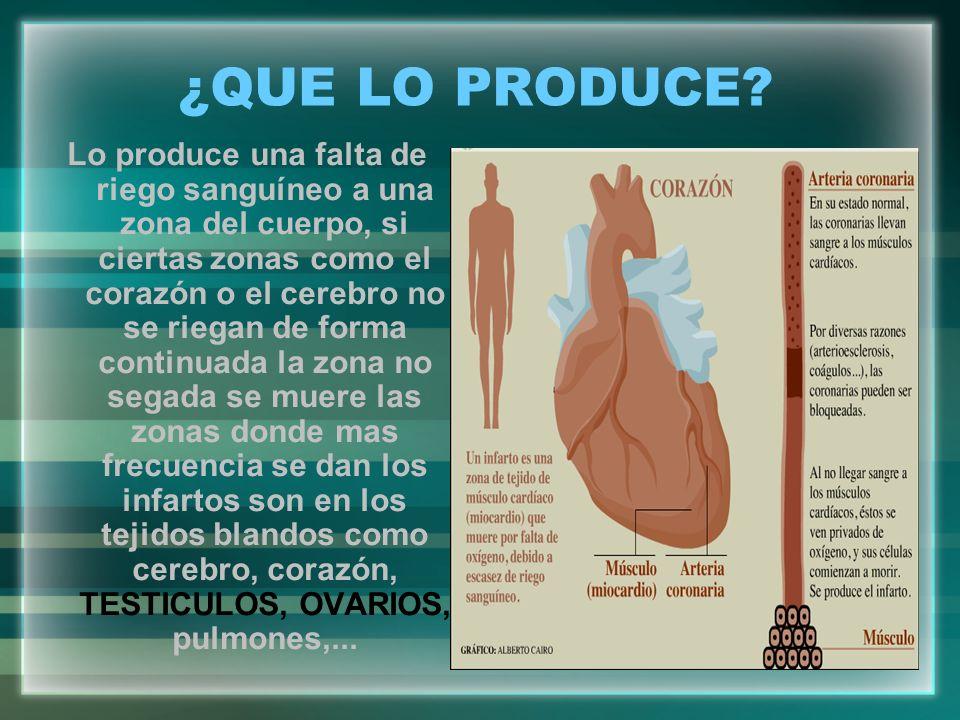 ¿QUE LO PRODUCE? Lo produce una falta de riego sanguíneo a una zona del cuerpo, si ciertas zonas como el corazón o el cerebro no se riegan de forma co