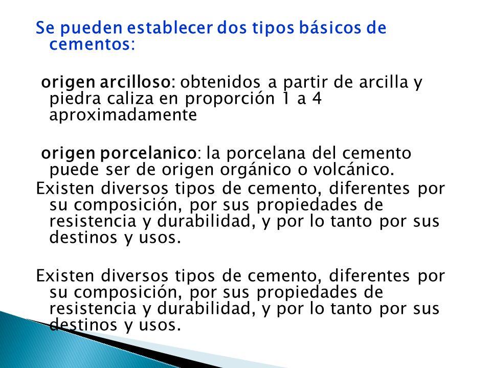 Se pueden establecer dos tipos básicos de cementos: origen arcilloso: obtenidos a partir de arcilla y piedra caliza en proporción 1 a 4 aproximadament