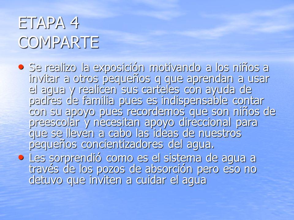 ETAPA 4 COMPARTE Se realizo la exposición motivando a los niños a invitar a otros pequeños q que aprendan a usar el agua y realicen sus carteles con a