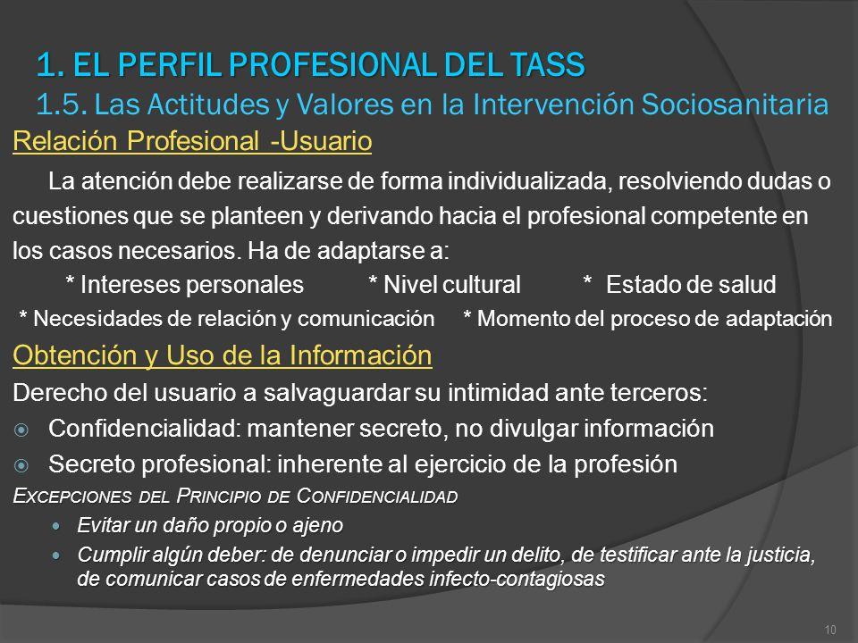 1. EL PERFIL PROFESIONAL DEL TASS 1. EL PERFIL PROFESIONAL DEL TASS 1.5. Las Actitudes y Valores en la Intervención Sociosanitaria Relación Profesiona