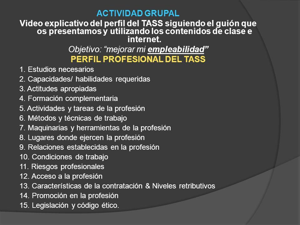 ACTIVIDAD GRUPAL Video explicativo del perfil del TASS siguiendo el guión que os presentamos y utilizando los contenidos de clase e internet. Objetivo