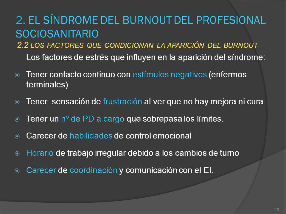 2. 2. EL SÍNDROME DEL BURNOUT DEL PROFESIONAL SOCIOSANITARIO 2.2 LOS FACTORES QUE CONDICIONAN LA APARICIÓN DEL BURNOUT Los factores de estrés que infl