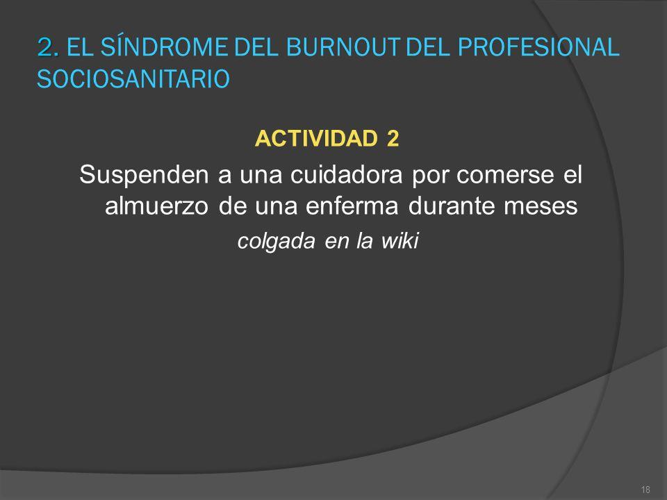 2. 2. EL SÍNDROME DEL BURNOUT DEL PROFESIONAL SOCIOSANITARIO ACTIVIDAD 2 Suspenden a una cuidadora por comerse el almuerzo de una enferma durante mese