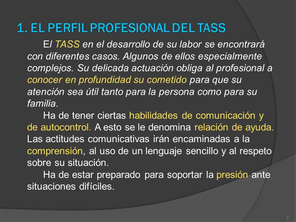1. EL PERFIL PROFESIONAL DEL TASS El TASS en el desarrollo de su labor se encontrará con diferentes casos. Algunos de ellos especialmente complejos. S