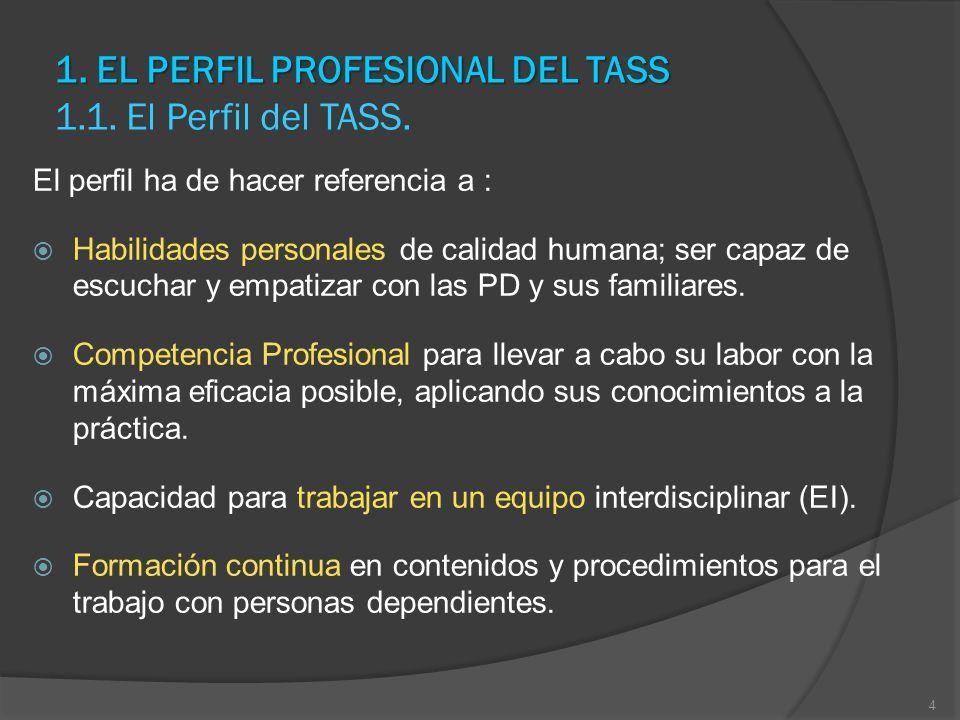 1. EL PERFIL PROFESIONAL DEL TASS 1. EL PERFIL PROFESIONAL DEL TASS 1.1. El Perfil del TASS. El perfil ha de hacer referencia a : Habilidades personal