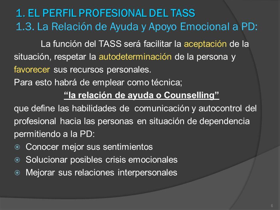 1. EL PERFIL PROFESIONAL DEL TASS 1. EL PERFIL PROFESIONAL DEL TASS 1.3. La Relación de Ayuda y Apoyo Emocional a PD: La función del TASS será facilit
