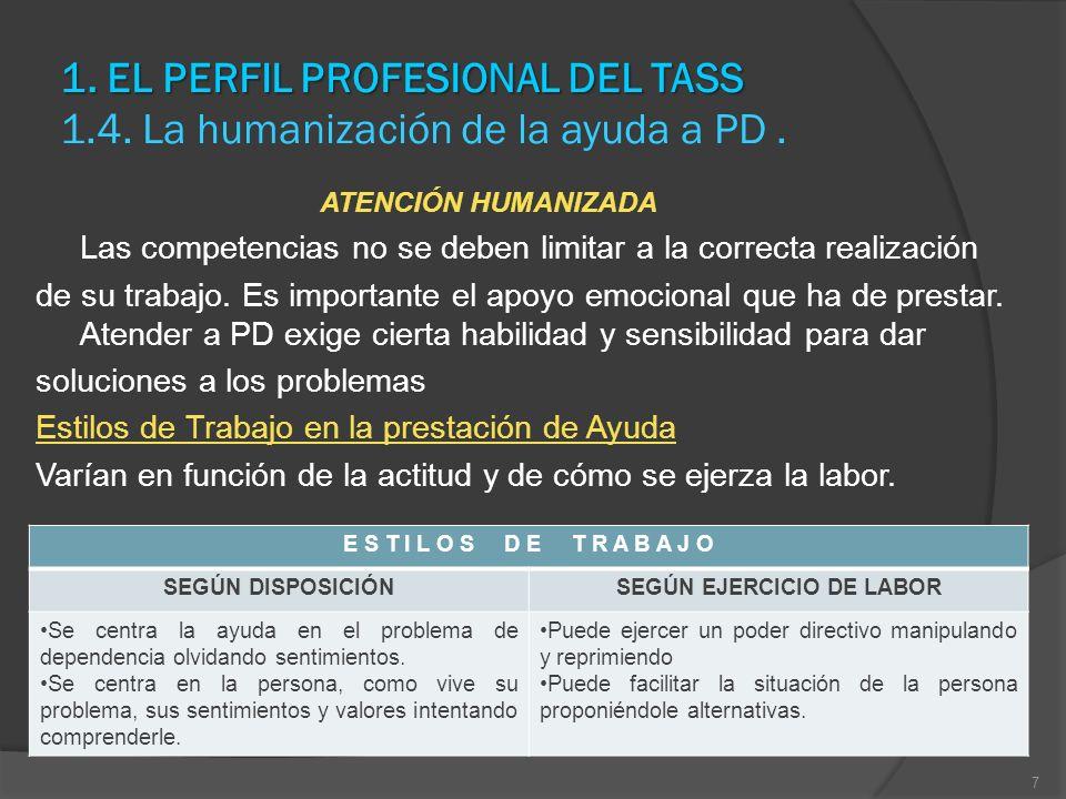 1. EL PERFIL PROFESIONAL DEL TASS 1. EL PERFIL PROFESIONAL DEL TASS 1.4. La humanización de la ayuda a PD. ATENCIÓN HUMANIZADA Las competencias no se