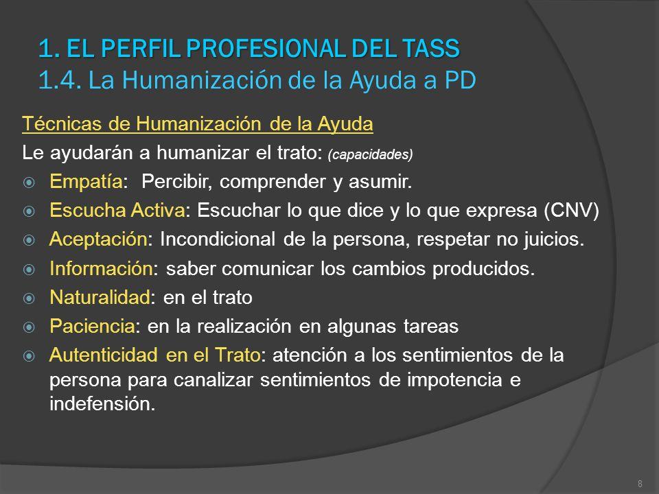 1. EL PERFIL PROFESIONAL DEL TASS 1. EL PERFIL PROFESIONAL DEL TASS 1.4. La Humanización de la Ayuda a PD Técnicas de Humanización de la Ayuda Le ayud