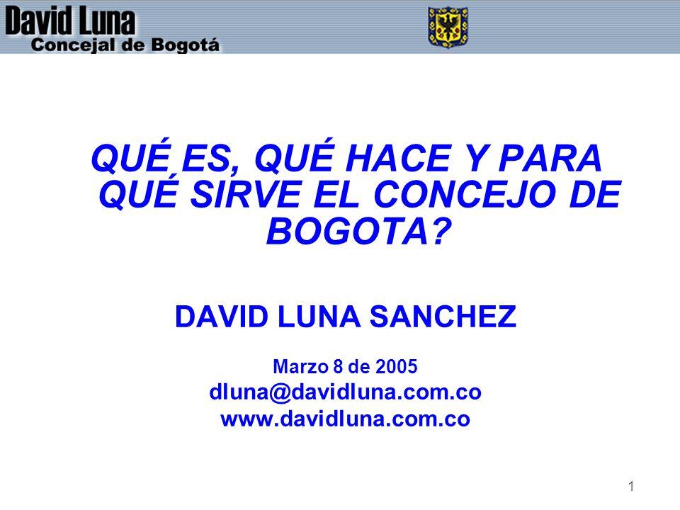 1 QUÉ ES, QUÉ HACE Y PARA QUÉ SIRVE EL CONCEJO DE BOGOTA? DAVID LUNA SANCHEZ Marzo 8 de 2005 dluna@davidluna.com.co www.davidluna.com.co