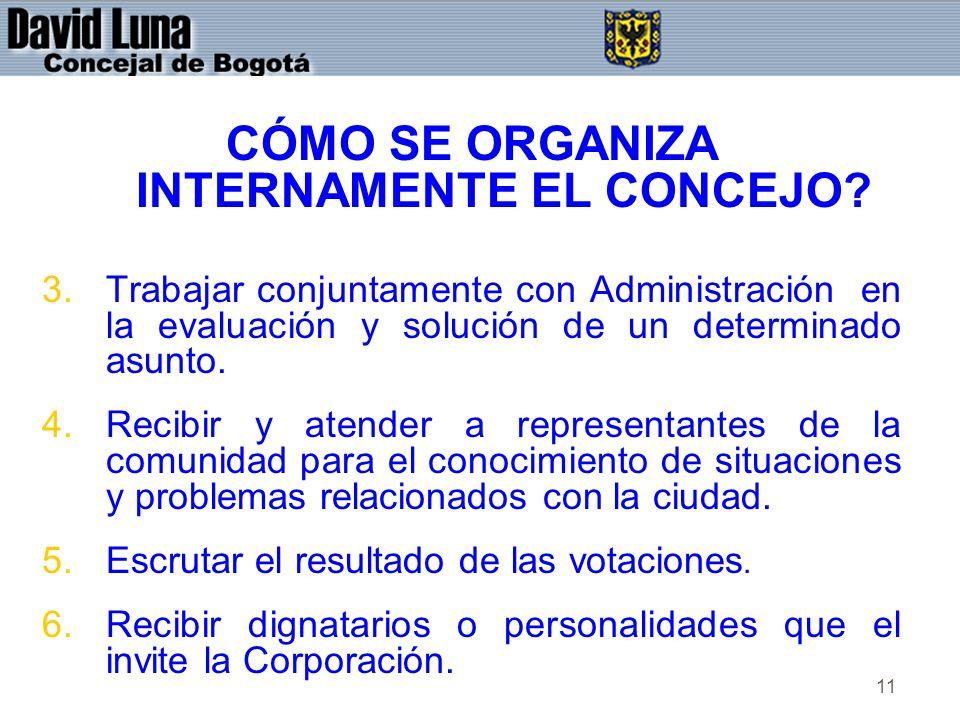 11 CÓMO SE ORGANIZA INTERNAMENTE EL CONCEJO? 3.Trabajar conjuntamente con Administración en la evaluación y solución de un determinado asunto. 4.Recib
