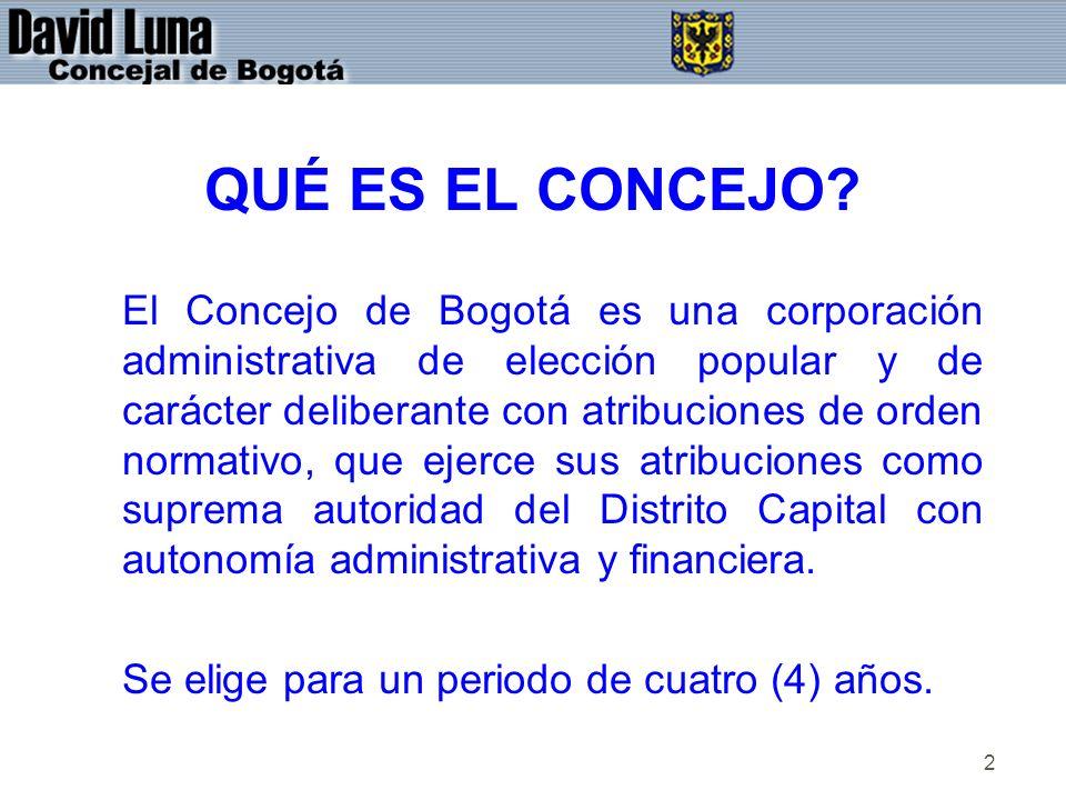 2 QUÉ ES EL CONCEJO? El Concejo de Bogotá es una corporación administrativa de elección popular y de carácter deliberante con atribuciones de orden no