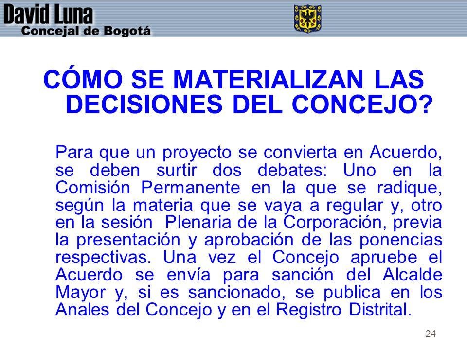 24 CÓMO SE MATERIALIZAN LAS DECISIONES DEL CONCEJO? Para que un proyecto se convierta en Acuerdo, se deben surtir dos debates: Uno en la Comisión Perm