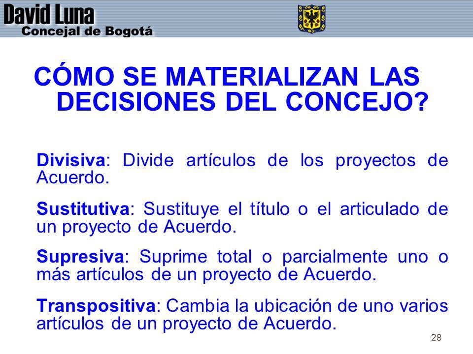 28 CÓMO SE MATERIALIZAN LAS DECISIONES DEL CONCEJO? Divisiva: Divide artículos de los proyectos de Acuerdo. Sustitutiva: Sustituye el título o el arti