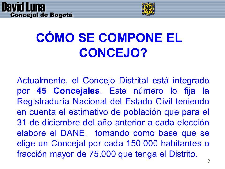 3 CÓMO SE COMPONE EL CONCEJO? Actualmente, el Concejo Distrital está integrado por 45 Concejales. Este número lo fija la Registraduría Nacional del Es