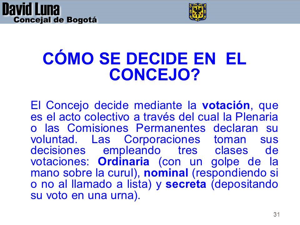 31 CÓMO SE DECIDE EN EL CONCEJO? El Concejo decide mediante la votación, que es el acto colectivo a través del cual la Plenaria o las Comisiones Perma