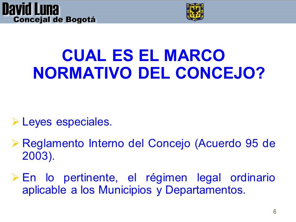6 CUAL ES EL MARCO NORMATIVO DEL CONCEJO? Leyes especiales. Reglamento Interno del Concejo (Acuerdo 95 de 2003). En lo pertinente, el régimen legal or