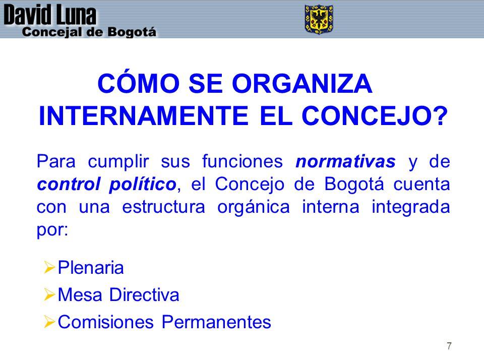 7 CÓMO SE ORGANIZA INTERNAMENTE EL CONCEJO? Para cumplir sus funciones normativas y de control político, el Concejo de Bogotá cuenta con una estructur