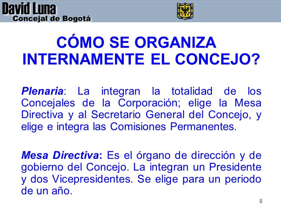 8 CÓMO SE ORGANIZA INTERNAMENTE EL CONCEJO? Plenaria: La integran la totalidad de los Concejales de la Corporación; elige la Mesa Directiva y al Secre
