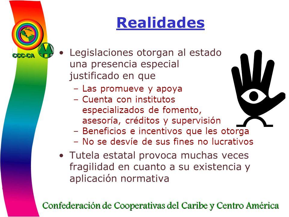 Confederación de Cooperativas del Caribe y Centro América Realidades Legislaciones otorgan al estado una presencia especial justificado en que –Las pr