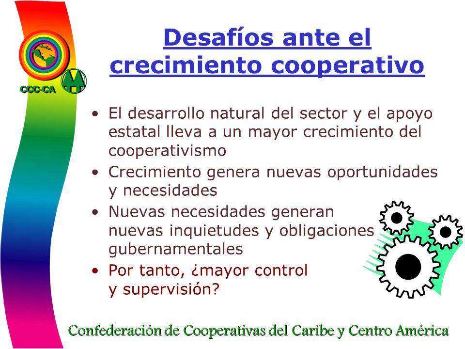 Confederación de Cooperativas del Caribe y Centro América Desafíos ante el crecimiento cooperativo El desarrollo natural del sector y el apoyo estatal