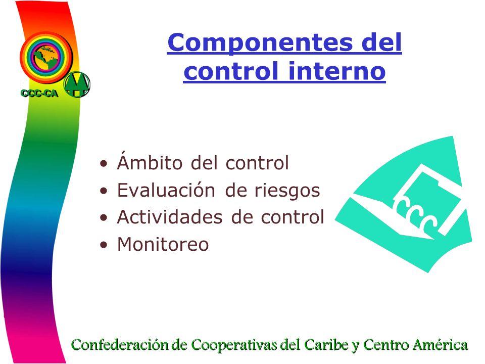 Confederación de Cooperativas del Caribe y Centro América Componentes del control interno Ámbito del control Evaluación de riesgos Actividades de cont
