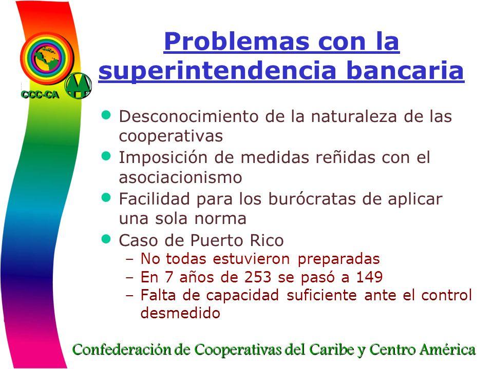 Confederación de Cooperativas del Caribe y Centro América Problemas con la superintendencia bancaria Desconocimiento de la naturaleza de las cooperati