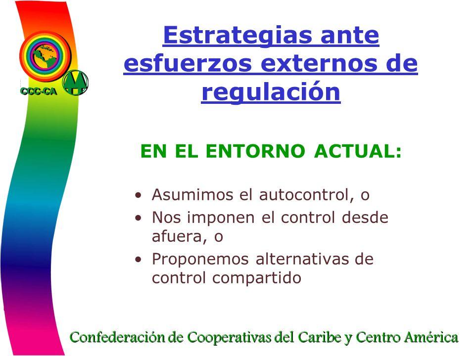 Confederación de Cooperativas del Caribe y Centro América Estrategias ante esfuerzos externos de regulación EN EL ENTORNO ACTUAL: Asumimos el autocont