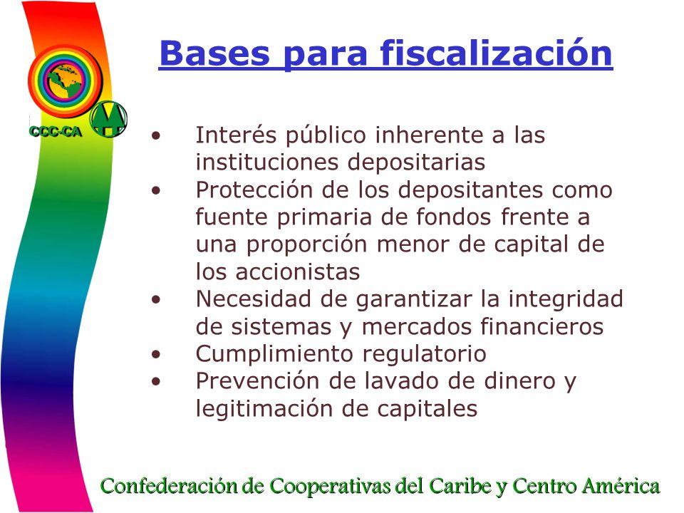 Confederación de Cooperativas del Caribe y Centro América Bases para fiscalización Interés público inherente a las instituciones depositarias Protecci