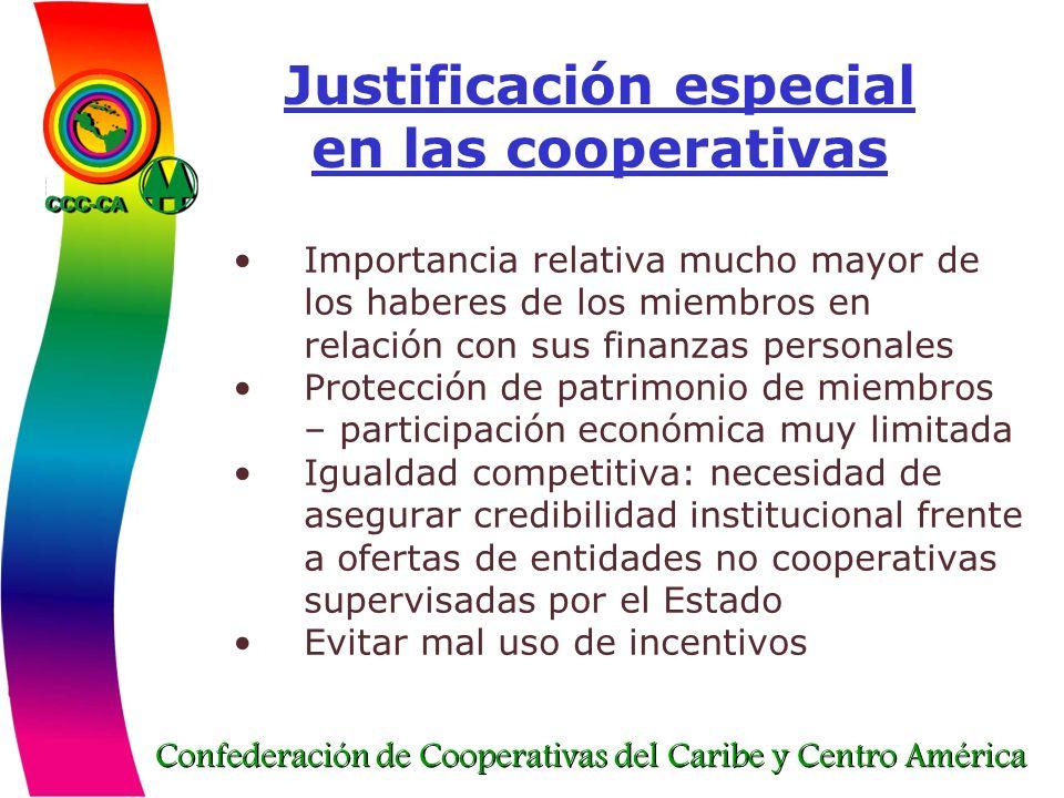 Confederación de Cooperativas del Caribe y Centro América Justificación especial en las cooperativas Importancia relativa mucho mayor de los haberes d